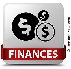 Finances (dollar sign) white square button red ribbon in middle
