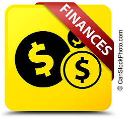Finances (dollar sign) yellow square button red ribbon in corner