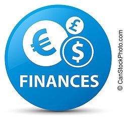 Finances (euro sign) cyan blue round button