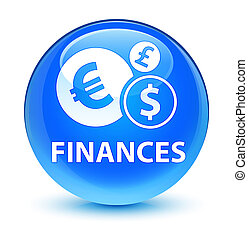 Finances (euro sign) glassy cyan blue round button