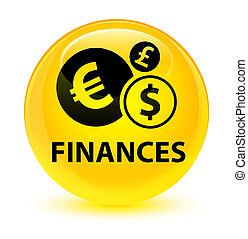 Finances (euro sign) glassy yellow round button