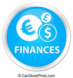 Finances (euro sign) premium cyan blue round button