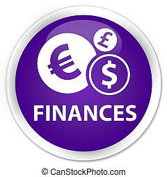 Finances (euro sign) premium purple round button