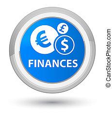 Finances (euro sign) prime cyan blue round button