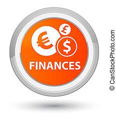 Finances (euro sign) prime orange round button