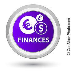 Finances (euro sign) prime purple round button