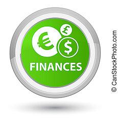 Finances (euro sign) prime soft green round button