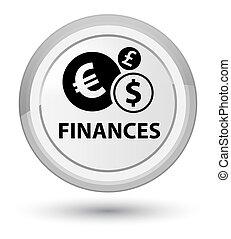 Finances (euro sign) prime white round button