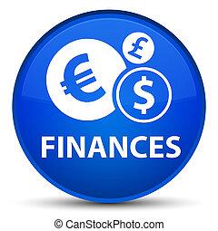 Finances (euro sign) special blue round button