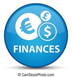 Finances (euro sign) special cyan blue round button