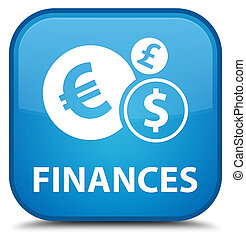 Finances (euro sign) special cyan blue square button