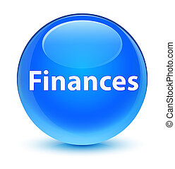 Finances glassy cyan blue round button