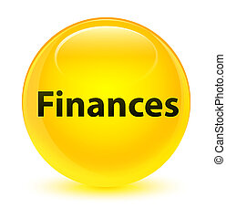 Finances glassy yellow round button