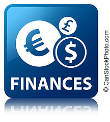Finances glossy blue reflected square button