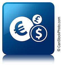 Finances icon blue square button