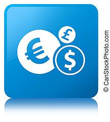 Finances icon cyan blue square button