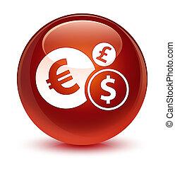 Finances icon glassy brown round button