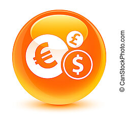 Finances icon glassy orange round button