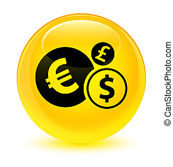 Finances icon glassy yellow round button
