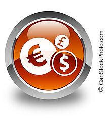 Finances icon glossy brown round button