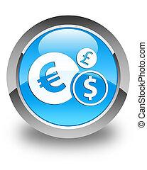 Finances icon glossy cyan blue round button