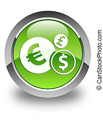 Finances icon glossy green round button