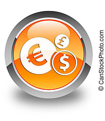 Finances icon glossy orange round button