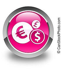 Finances icon glossy pink round button
