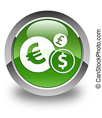 Finances icon glossy soft green round button