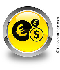 Finances icon glossy yellow round button
