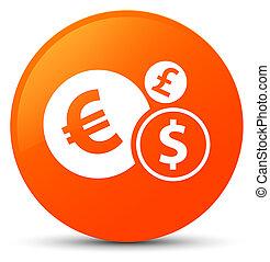 Finances icon orange round button