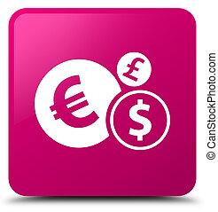 Finances icon pink square button