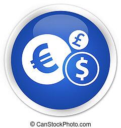 Finances icon premium blue round button
