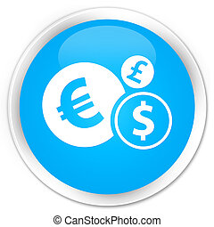 Finances icon premium cyan blue round button