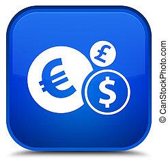 Finances icon special blue square button