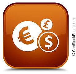 Finances icon special brown square button