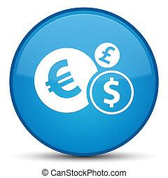 Finances icon special cyan blue round button