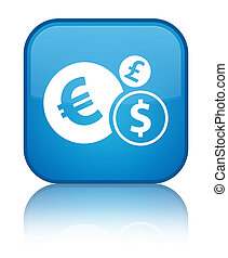 Finances icon special cyan blue square button