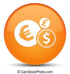 Finances icon special orange round button