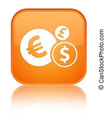Finances icon special orange square button