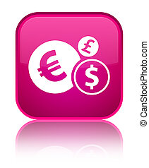 Finances icon special pink square button