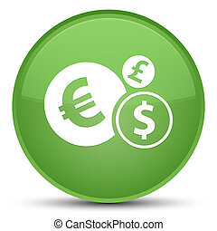Finances icon special soft green round button