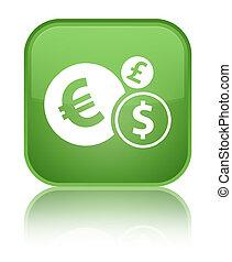 Finances icon special soft green square button
