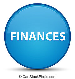 Finances special cyan blue round button