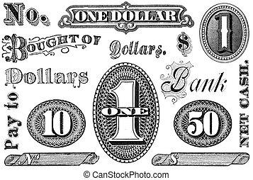 financiële elementen, set, grpahic, ouderwetse