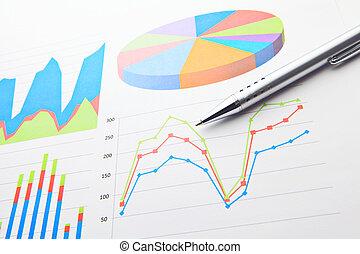 financiële grafiek, en, pen