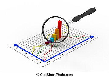 financiële grafiek, en, vergroten, gla