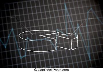 financiële grafiek, stats), cirkeldiagram, (of, achtergrond