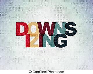 financiën, concept:, downsizing, op, digitale , data, papier, achtergrond