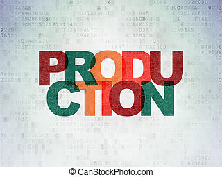 financiën, concept:, fabriekshal, op, digitale , data, papier, achtergrond